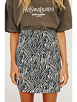 cheap -Women's Vacation Going out Vintage Streetwear Skirts Graphic Animal Split Print Black