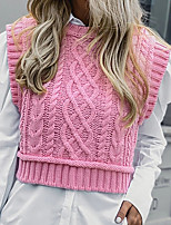 cheap -Women's Embroidery Knitted Solid Color Vest Sleeveless Sweater Cardigans Crew Neck Fall Spring Purple Yellow Blushing Pink