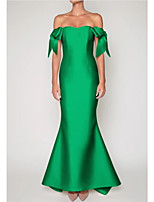 cheap -Mermaid / Trumpet Elegant Vintage Engagement Formal Evening Dress Off Shoulder Sleeveless Sweep / Brush Train Satin with Sleek Bow(s) 2021