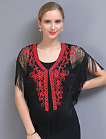 cheap -Short Sleeve Elegant / Bridal Tulle / Sequined Wedding / Party / Evening Shawl & Wrap / Women's Wrap With Tassel / Embroidery / Split Joint