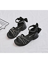 cheap -Girls' Sandals Comfort Children's Day Princess Shoes PU Big Kids(7years +) Daily Party & Evening Walking Shoes Sparkling Glitter Black Beige Summer