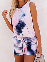 cheap -Women's Basic Cinched Tie Dye Vacation Home Two Piece Set Tank Top Tracksuit Loungewear Shorts Drawstring Tops