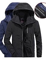 cheap -Men's Hiking Softshell Jacket Waterproof Hiking Jacket Autumn / Fall Spring Outdoor Solid Color Waterproof Quick Dry Breathable Detachable Cap Jacket Hoodie Top Camping / Hiking Hunting Fishing Black