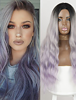 cheap -Synthetic Wig Deep Wave Middle Part Wig Medium Length Ombre Purple Synthetic Hair Women's Cosplay Party Fashion Purple