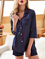 cheap -Women's Shirt Collar Robes / Suits Pajamas Solid Colored