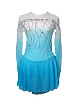 cheap -Figure Skating Dress Women's Girls' Ice Skating Dress Blue+White Patchwork Asymmetric Hem Spandex High Elasticity Competition Skating Wear Crystal / Rhinestone Long Sleeve Ice Skating Figure Skating