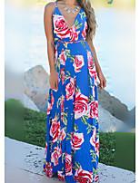 cheap -Women's Strap Dress Maxi long Dress Multicolor_1 White Blue Purple Red Yellow Blushing Pink Wine Army Green Light Brown Sleeveless Floral Striped Print Summer Elegant Casual 2021 S M L XL XXL 3XL