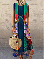 cheap -Women's Shift Dress Maxi long Dress Green Sleeveless Floral Print Print Spring Summer Round Neck Casual 2021 S M L XL XXL 3XL