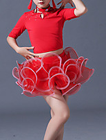 cheap -Latin Dance Skirts Crystal / Rhinestone Girls' Training Performance Half Sleeve Nylon