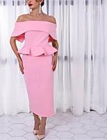 cheap -Sheath / Column Peplum Sexy Wedding Guest Formal Evening Dress Off Shoulder Sleeveless Ankle Length Spandex with Ruffles 2021