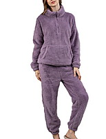 cheap -Women's Casual / Daily Polyester Keep Warm Stand Collar Suits Long Sleeve 2 Piece Fall & Winter M Purple / Pocket