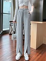 cheap -Women's Basic Chino Comfort Casual Daily Wide Leg Pants Plain Full Length Split Pocket Elastic Drawstring Design Black Gray