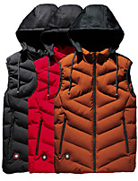 cheap -Men's Padded Hiking Vest Fishing Vest Sleeveless Vest / Gilet Jacket Top Outdoor Windproof Lightweight Breathable Comfortable Autumn / Fall Winter Spring POLY Solid Color Jacinth +Gray Black Red