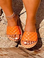 cheap -Women's Sandals Flat Heel Round Toe PU Solid Colored White Black Orange