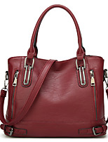 cheap -Women's Bags PU Leather Top Handle Bag Zipper Solid Color Daily Going out 2021 Tote Handbags Wine Black Brown Dark Blue
