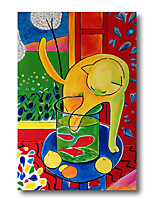 cheap -Stretched Oil Painting Hand Painted Canvas Abstract Comtemporary Modern High Quality Cute Cat Cartoon Ready to Hang