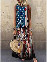 cheap -Women's Shift Dress Maxi long Dress Red Sleeveless Flag Animal Print Spring Summer Round Neck Casual 2021 S M L XL XXL 3XL