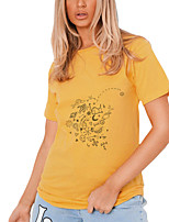 cheap -Women's T shirt Graphic Print Round Neck Tops 100% Cotton Basic Basic Top Black Yellow