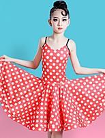 cheap -Latin Dance Dress Printing Girls' Training Performance Sleeveless Natural Tulle
