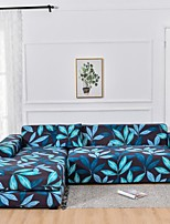 cheap -Blue Leaves Plant Dustproof All-powerful  Stretch L Shape Sofa Cover Super Soft Fabric Sofa Furniture Protector with One Free Boster Case