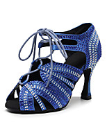 cheap -2021 Latin Shoes Professional High Heel Crystal / Rhinestone High Heel Open Toe Light Yellow Black Blue Lace-up Glitter Crystal Sequined Jeweled / Satin / Silk