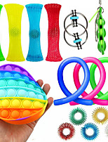 cheap -16 pcs Fidget Toys Anti Stress Toy Stretchy Strings Mesh Marble Push Pop Bubble Relief Gift For Adults Children Sensory Antistress Relief Toys
