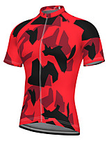 cheap -21Grams Men's Short Sleeve Cycling Jersey Spandex Black / Red Camo / Camouflage Bike Jersey Mountain Bike MTB Road Bike Cycling Sports Clothing Apparel / Stretchy / Athleisure