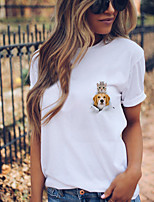 cheap -Women's T shirt Cat Dog Animal Print Round Neck Tops 100% Cotton Basic Basic Top White Black Yellow