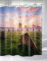 cheap -Haze Sunset Digital Printing Shower Curtain Shower Curtains  Hooks Modern Polyester New Design