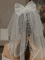 cheap -Two-tier Cute Wedding Veil Shoulder Veils with Faux Pearl / Embroidery 15.75 in (40cm) Lace / Tulle
