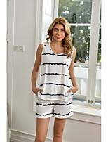 cheap -Women's Basic Streetwear Striped Vacation Home Two Piece Set Tank Top Tracksuit Skirt Loungewear Print Tops