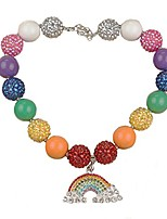 cheap -habily rainbow chunky bubblegum necklace colorful fashion beads with gift box for baby girls