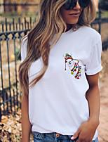 cheap -Women's T shirt Giraffe Animal Print Round Neck Tops 100% Cotton Basic Basic Top White Yellow Blushing Pink