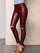 cheap -Women's Casual / Sporty Punk & Gothic Comfort Club Weekend Leggings Pants Plain Ankle-Length Cut Out Elastic Waist Wine