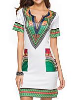 cheap -Women's Shift Dress Short Mini Dress Black Red Green Beige Gray Short Sleeve Color Block Print Spring Summer V Neck Elegant Casual 2021 S M L XL XXL 3XL