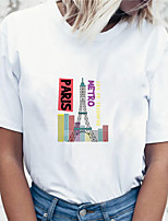 cheap -Women's T shirt Graphic Scenery Print Round Neck Tops 100% Cotton Basic Basic Top White Blue Purple