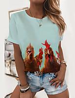 cheap -Women's T shirt Graphic Animal Print Round Neck Tops Basic Basic Top Blue Light Green Gray