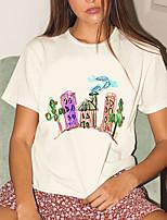 cheap -Women's T shirt Graphic Print Round Neck Tops 100% Cotton Basic Basic Top White Black