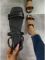 cheap -Women's Sandals Boho Bohemia Beach Flat Heel Round Toe PU Solid Colored White Black Yellow