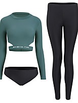 cheap -Women's Rash Guard Dive Skin Suit Spandex Swimwear UV Sun Protection Quick Dry Long Sleeve 3-Piece - Swimming Surfing Snorkeling Solid Colored Autumn / Fall Spring Summer