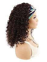 cheap -hair band real hair headgear deep volume medium long small volume wig headgear natural black big wave headscarf headgear 14 inch