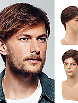 cheap -Mens Wig Brown Short Curly Fluffy Wig with Bang Blonde Brown Mix Color Touqee Daily Cosplay Wigs for Men