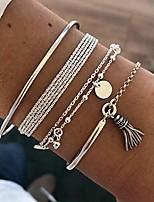 cheap -sakytal beads bracelet set silver layered bracelet tassel stackable wrist cuff bangle bracelets adjustable for women and girls(4pcs)