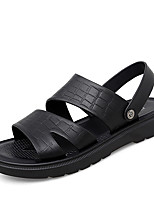 cheap -Men's Sandals Beach Daily Outdoor PU Breathable Non-slipping Wear Proof Black Brown Spring Summer