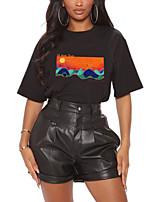 preiswerte -Damen T-Shirt Grafik Landschaft Druck Rundhalsausschnitt Oberteile 100% Baumwolle Grundlegend Basic Top Weiß Schwarz