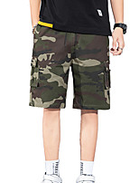 """cheap -Men's Hiking Shorts Hiking Cargo Shorts Military Camo Summer Outdoor 12"""" Loose Multi-Pockets Quick Dry Breathable Comfortable Cotton Shorts Bottoms Light Yellow Camouflage Red Blue Khaki Light Green"""