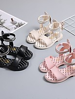 cheap -Girls' Sandals Comfort Flower Girl Shoes Princess Shoes PU Little Kids(4-7ys) Big Kids(7years +) Daily Home Walking Shoes White Black Pink Spring Summer