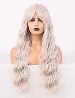 cheap -Cosplay Costume Wig Synthetic Wig Wavy Loose Curl Middle Part Wig 24 inch Grey Synthetic Hair Women's Odor Free Fashionable Design Soft Gray