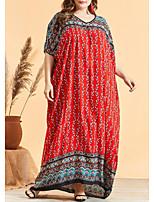 cheap -Women's Kaftan Dress Maxi long Dress Red Half Sleeve Print Patchwork Print Summer Round Neck Casual 2021 One-Size