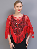 cheap -Half Sleeve Elegant / Bridal Tulle / Sequined Wedding / Party / Evening Shawl & Wrap / Women's Wrap With Tassel / Split Joint / Solid